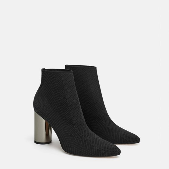 Zara Fabric Ankle Boot With Metallic Heel